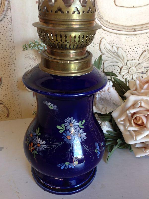 Antique French Rare Cobalt Blue Floral Porcelain Oil Lamp