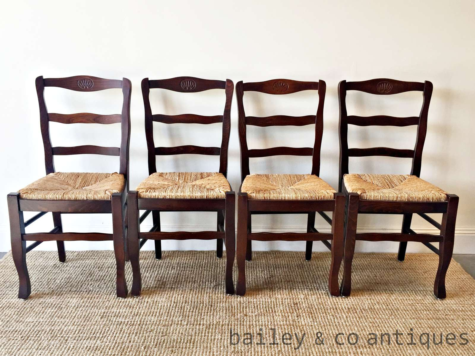 french vintage dining chairs ladder back set of four rush seats
