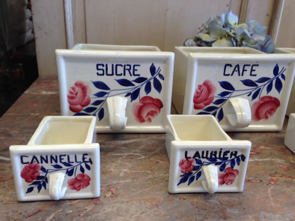 French Vintage Set of Seven Ceramic E Spice Drawers Cannisters - g129 View2