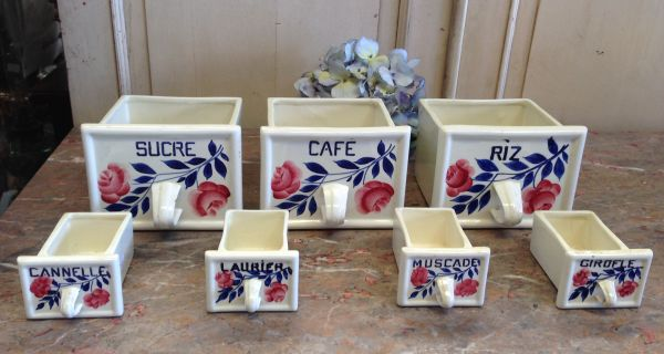 French Vintage Set of Seven Ceramic E Spice Drawers Cannisters - g129 Main