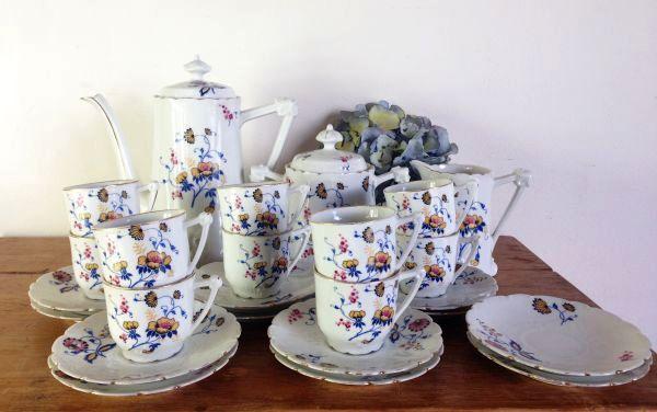 Antique French & Cie Limoges Floral Porcelain Coffee Set - a536 Main