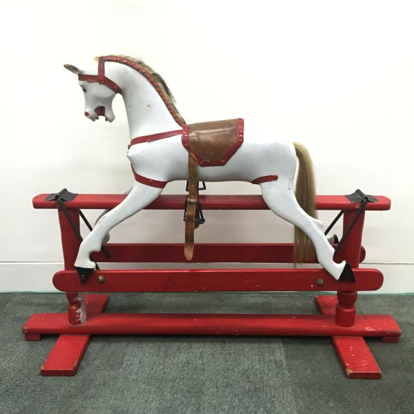 Antique or Vintage Wooden Rocking Horse Small Roebuck - p300 View4