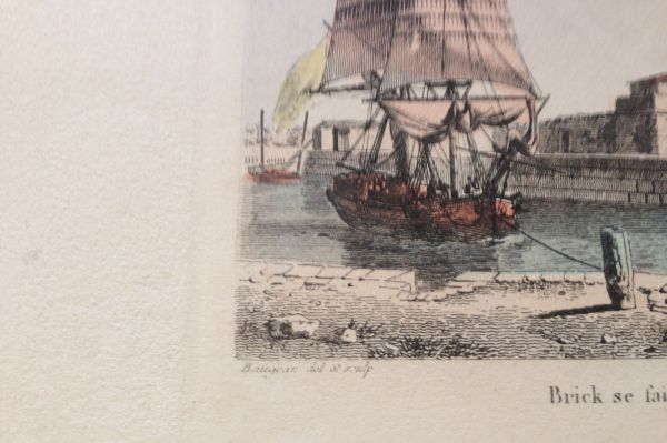 Antique French Petite Marine Aquatint Baugean View1