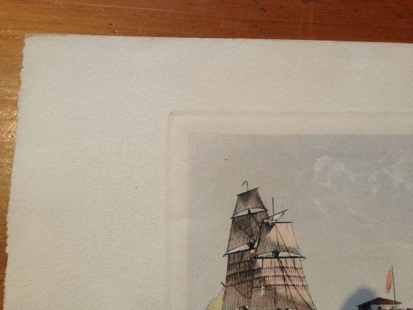 Antique French Petite Marine Aquatint Baugean View5