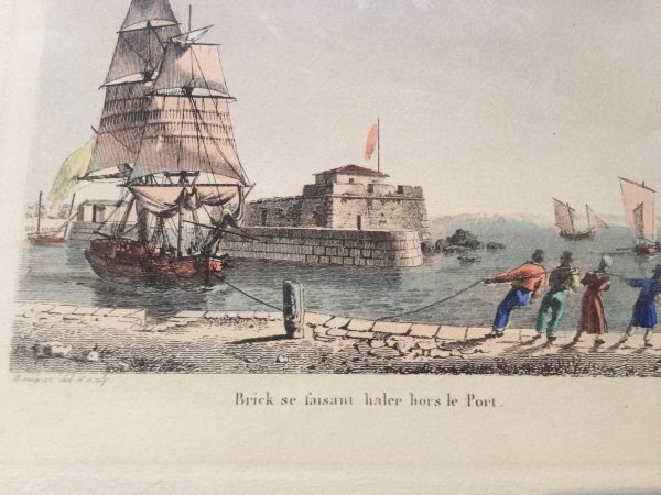 Antique French Petite Marine Aquatint Baugean Main