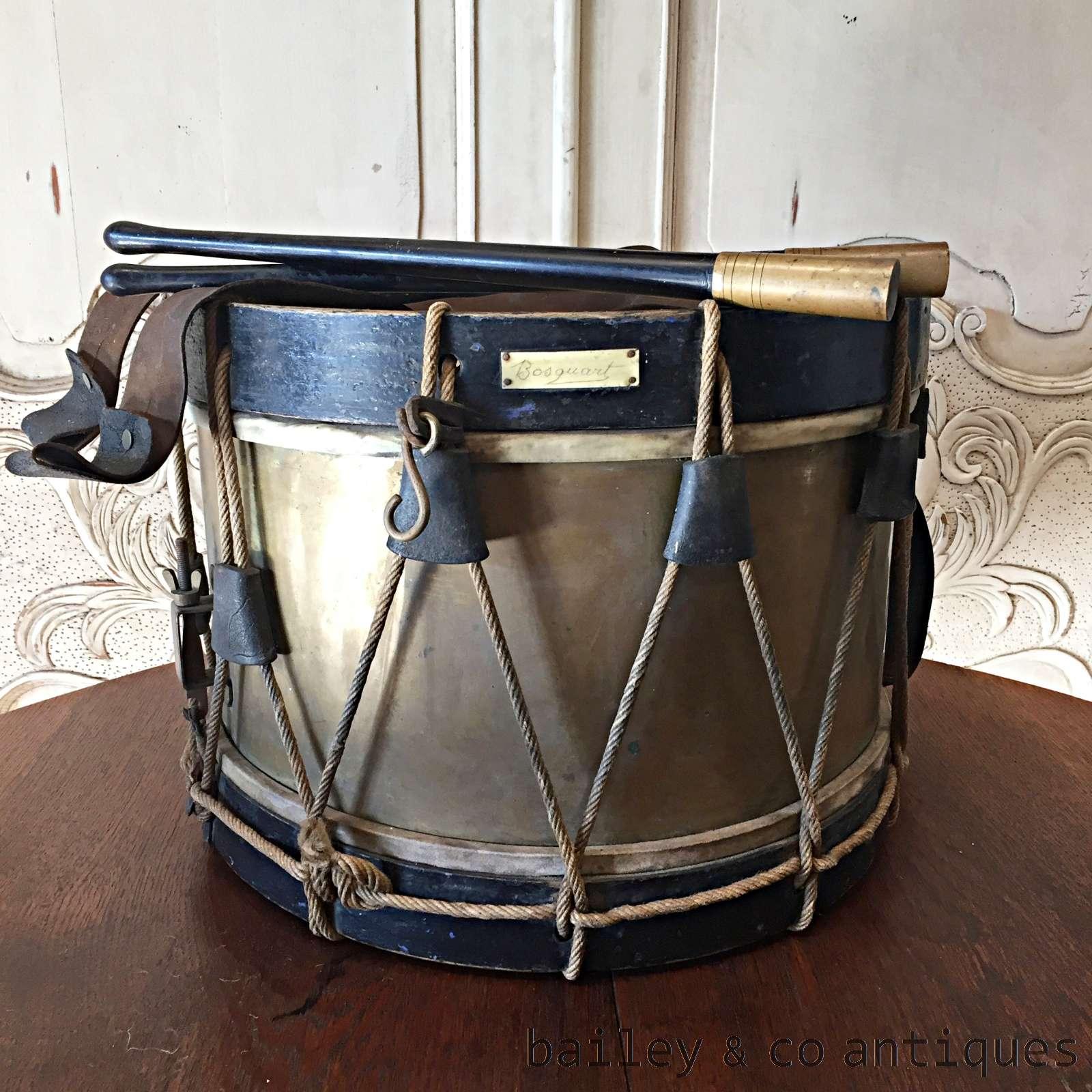Antique French Military Drum Tambour Amp Drumsticks Rare Of516