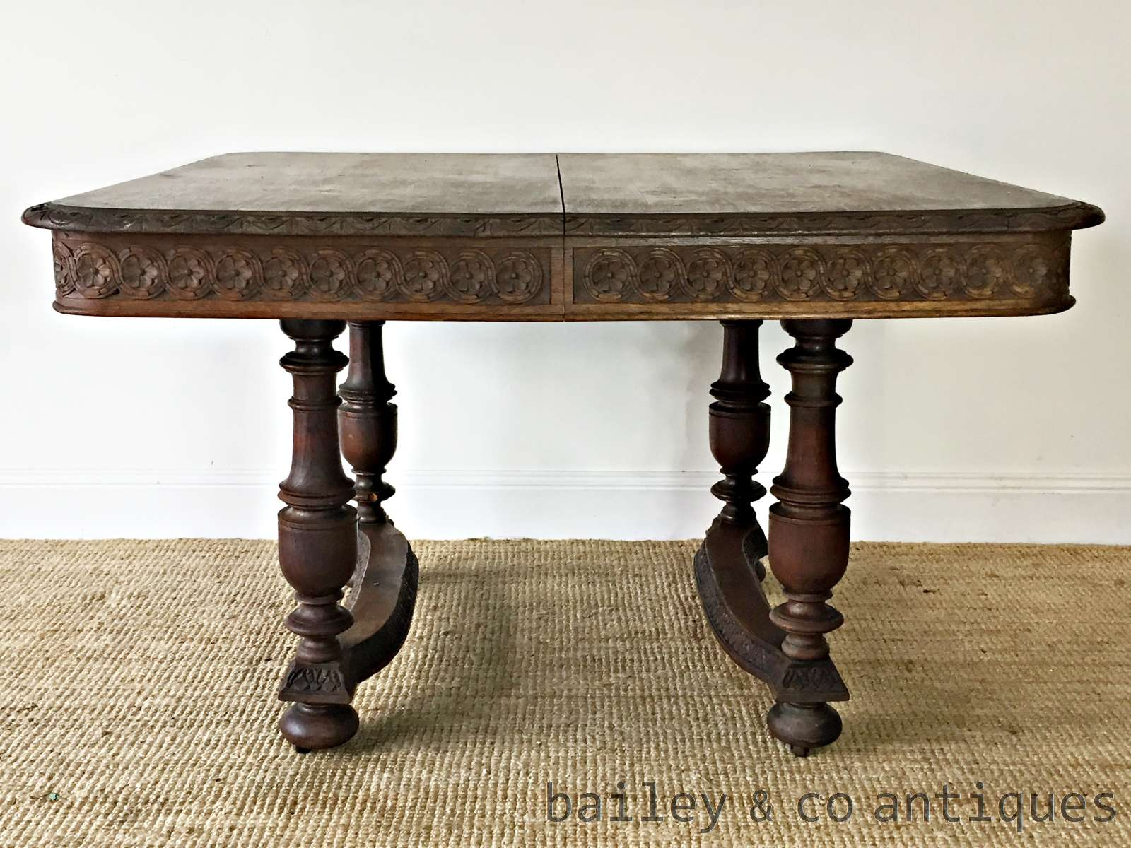 antique french oak dining table henri ii style tmf. Black Bedroom Furniture Sets. Home Design Ideas