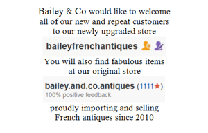 Bailey and Co importers and sellers of French Antiques, Seaford, Melbourne, Victoria, Australia